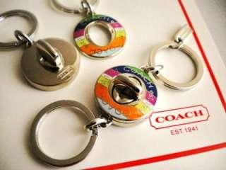 COACH LEGACY STRIPE TURNLOCK VALET KEY RING FOB 2 IN 1 #92529