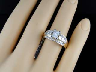 LADIES YELLOW GOLD / WHITE GOLD DIAMOND WEDDING ENGAGEMENT BAND RING