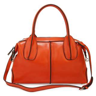 Classic Fashion Design Genuine Leather Lady Womens Orange Handbag