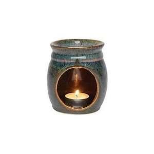 Aura Cacia Candle Lamp   High Fire Kiln Dark Blue/Rust 1 ct Beauty