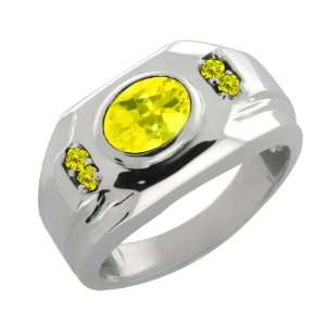 68 Ct Oval Canary Mystic Topaz and Canary Diamond Sterling Silver Ring