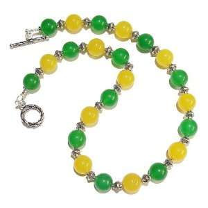 The Black Cat Jewellery Store Yellow & Green Jade Necklace