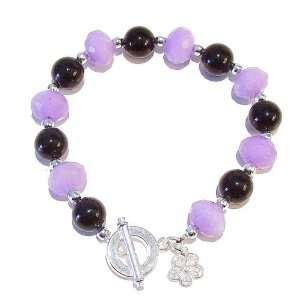The Black Cat Jewellery Store Lavender Jade & Black Onyx Bracelet 21