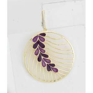 Smith Jewelry  Yellow Gold Plated and Purple Enamel Earrings Jewelry