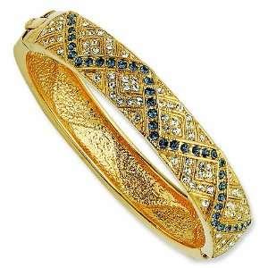 Gold plated Swarovski Crystal Smokey Blue Zig Zag 7in Bangle