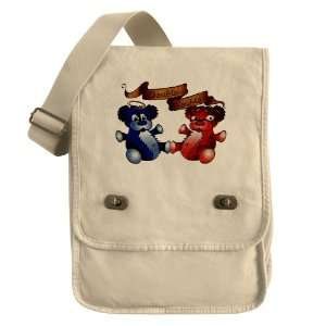 Messenger Field Bag Khaki Double Trouble Bears Angel and
