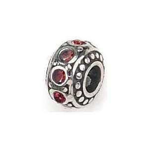 Authentic Zable July Crystal Birthstone 925 Sterling Silver Bead Charm