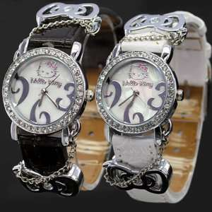 Hello Kitty Black & White Diamante Ladies Fashion Wrist Watch Set with