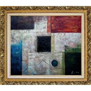 Black, Blue, Red and White Abstract Oil painting, with Ornate Antique