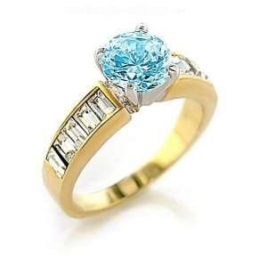 Jewelry   Sea Blue CZ Gold Tone Ring SZ 10 Jewelry