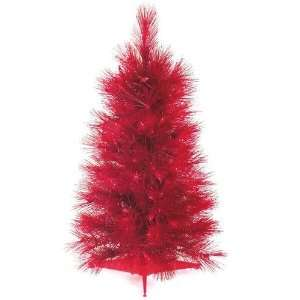 Pine Pre Lit Artificial Christmas Tree   Red Lights