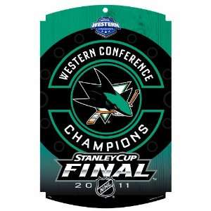 NHL San Jose Sharks Conference Champs 11 by 17 Inch Wood Sign Classic