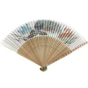 Plume   Painted Fabric   Perforated Brown Wood Hand Held Folding Fan
