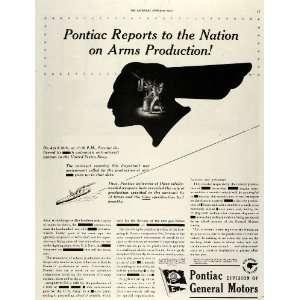 1942 Ad Pontiac Arms Production World War II Navy Guns