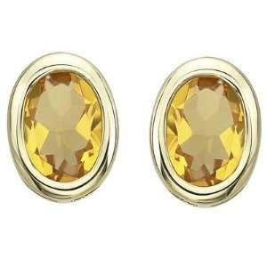 14K Yellow Gold Oval Shape Citrine Bezel Set Stud Earrings Jewelry