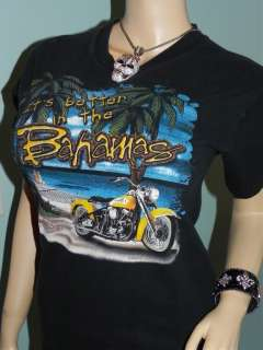 Womens HARLEY DAVIDSON TROPICAL RIDING BLACK BAHAMAS T SHIRT ~ SMALL