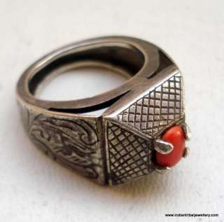 antique collectible tribal old silver ring with coral gemstone