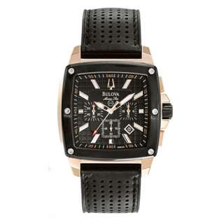 New Bulova Marine Star Chronograph Luminous Hands Leather Band Mens