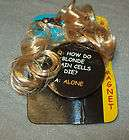 NWT Gag Gift Blonde Joke Button With Lock of Hair How Do Blonde Brain