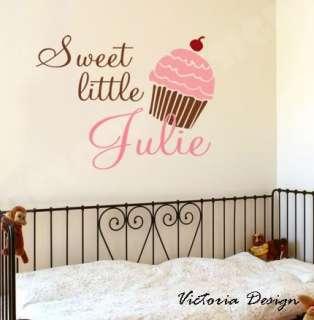 Monogram custom name & Cupcake WALL DECAL STICKER CHILDREN ROOM DECOR
