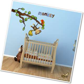Monkey Tree Animal Bird Wall Stickers Vinyl Art Decor For Nursery