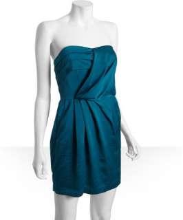 BCBGeneration blue bird charmeuse pleated strapless dress