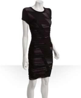 BCBGMAXAZRIA black graphic print and ruched tulle cap sleeve dress