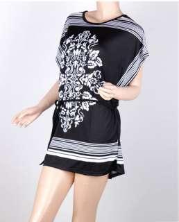 floral prints black woman funky kimono loose T shirt top mini dress
