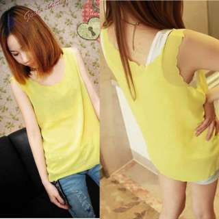 Fashion Korean Young Girls Chiffon Sleeveless Shirt Blouse Candy Color