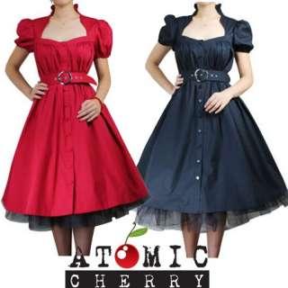 Belted Ruffle Dress Black Red Rockabilly Swing 50s 40s