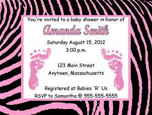 Girl Pink Feet Zebra Print Baby Shower Invitations Personalized