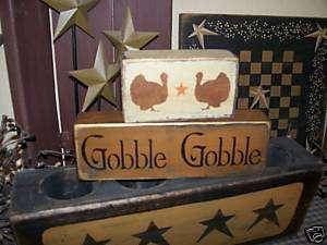 PRIMITIVE FALL HARVEST BLOCK SIGN~GOBBLE GOBBLE~TURKEY~