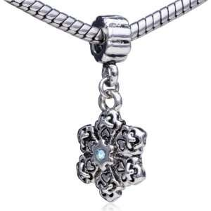 Style Bead Dangle Snowflake Charm Bead Fits Pandora Charms Bracelet