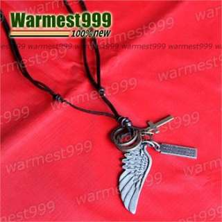 Genuine Real Mens Leather Necklace Angel Wing Cross Tag Pendant Choker