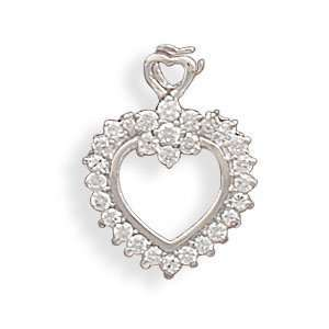 com Rhodium Plated Open CZ Heart With Flower Slide 16mm Cut Out Heart