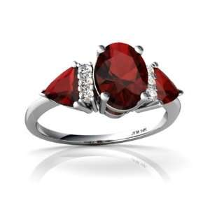 14K White Gold Oval Genuine Garnet 3 Stone Ring Size 5 Jewelry