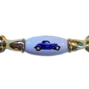 Blue with Blue Flames Hot Rod Car BRASS DRAWER Pull Handle