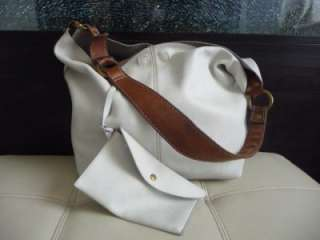 LUCKY BRAND White Leather Large Hobo Handbag Purse