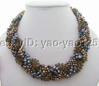 Beautiful 6Strds Black&Brown Pearl&Crystal Necklace