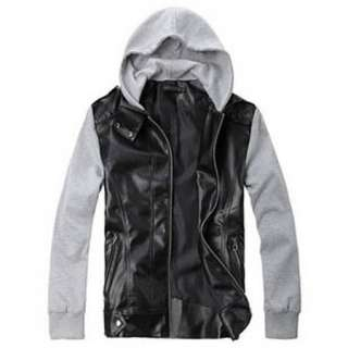 NEW Mens Slim Designed Sexy PU Leather Hoodies Short Jacket Coats 3