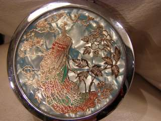 VINTAGE DECORATED GENUINE GOLD PEACOCK COMPACT MIRROR