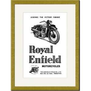 Gold Framed/Matted Print 17x23, Royal Enfield Motorcycles