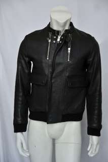 CHRISTIAN DIOR HOMME HEDI SLIMANE 07 Mens Black Leather Bomber Jacket