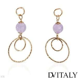 ITALY 10.70.ctw Amethyst Gold Plated Silver Earrings DV ITALY