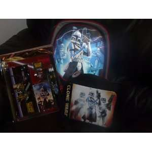Star Wars backpack clone wars Storm Trooper with Matching Lunch Box
