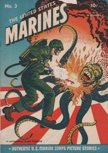 UNITED STATES MARINES #3 TOJO FLAME THROWER COVER 1944 GOOD CONDITION