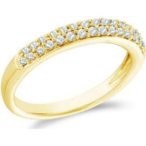 13   14k Yellow Gold Round Cut Diamond Ladies Womens Two Row Wedding