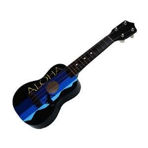 Hawaiian 18 inch Aloha Black Hand Painted Ukulele Musical