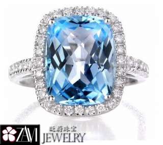 4CT Swiss Blue Topaz Diamond Ring Band 18K White Gold