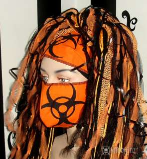 DIY Cyber Goth BioHazard Surgical Mask Orange Rave Neon